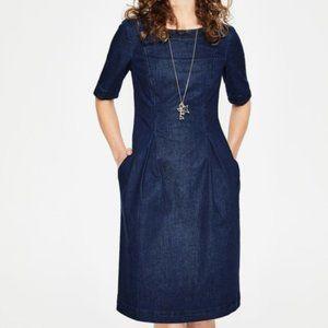 Boden Denim Short Sleeve Dress with Pockets, 4L